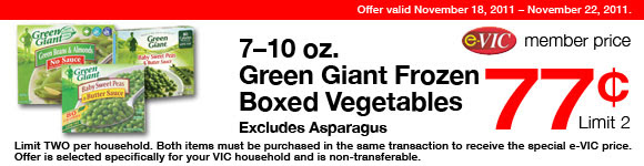 Green Giant Frozen Boxed Vegetables (Excludes Asparagus) -  7-10 oz : eVIC Member Price - $0.77 ea - Limit 2
