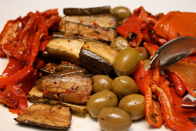 Anti pasti - artichoke, red bell peppers, aubergines and olives