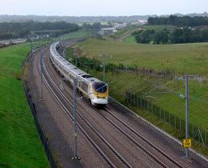 A Eurostar train travels on the Channel Tunnel Rail Link in England.