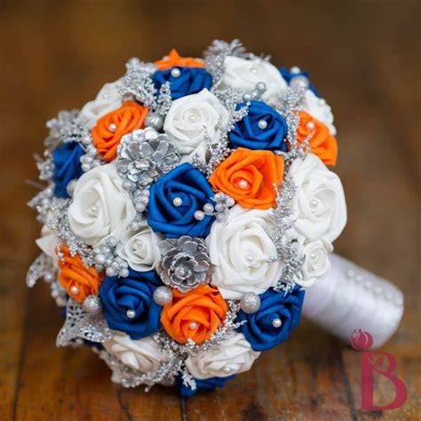 royal blue tangerine orange wedding bouquet silk wedding
