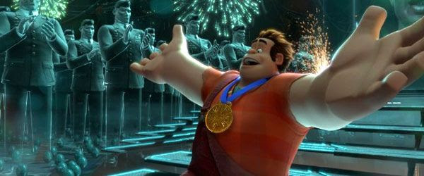 Ralph wins a medal after completing the first level of HERO'S DUTY in WRECK-IT RALPH.