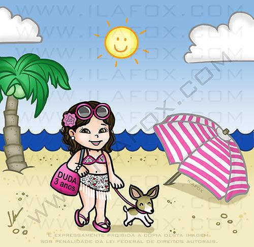 caricatura infantil, caricatura fofinha, caricatura praia, by ila fox