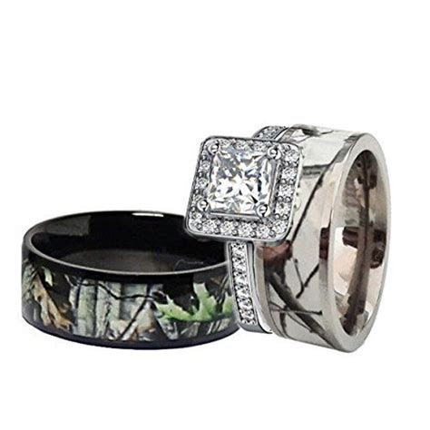 His & Hers Black & White Titanium Camo Sterling Silver