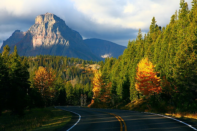 IMG_9561 Mount Sinopah from Two Medicine Road, Autumn Morning, Glacier National Park