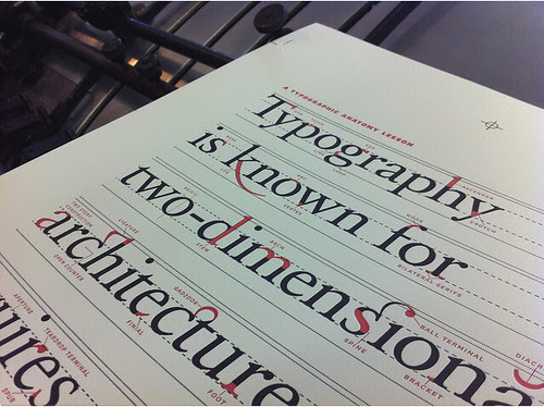 Writings on the Wall, ligature, typography, red, letterpress, Heidelberg Cylinder Press, Lesson Plan, via scott boms