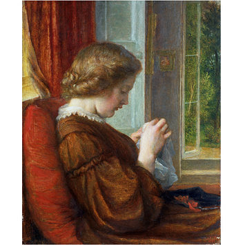 Girl sewing by window: The Window Seat (1861) by G. F. Watts.