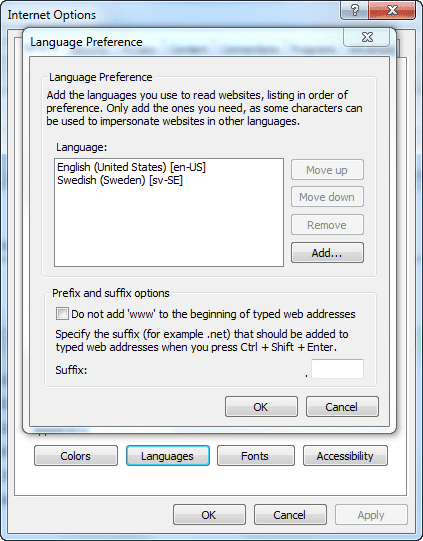 Internet Options > Language Preference