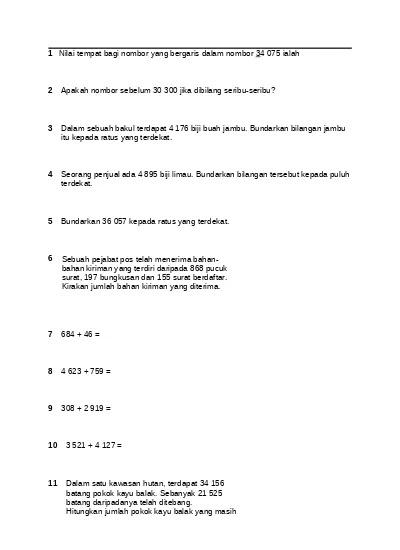 Soalan Matematik Bundarkan Tahun 4 - Soalan dan Jawapan