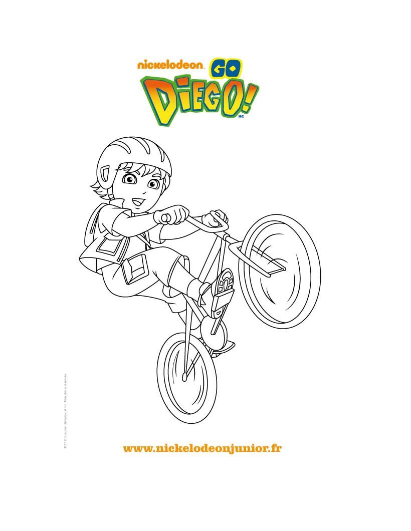 Coloriage en ligne DIEGO fait du vélo
