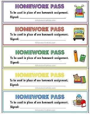Homework Pass – Activities For Kids