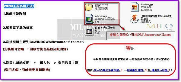 WIN8主題套用方法  milo0922.pixnet