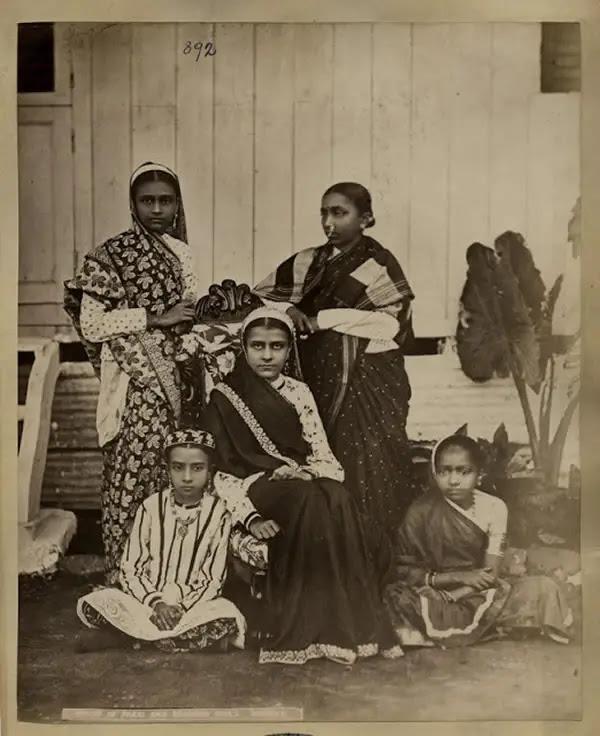 Group of Parsi and Brahmin Girls - Bombay (Mumbai) ca.1880's