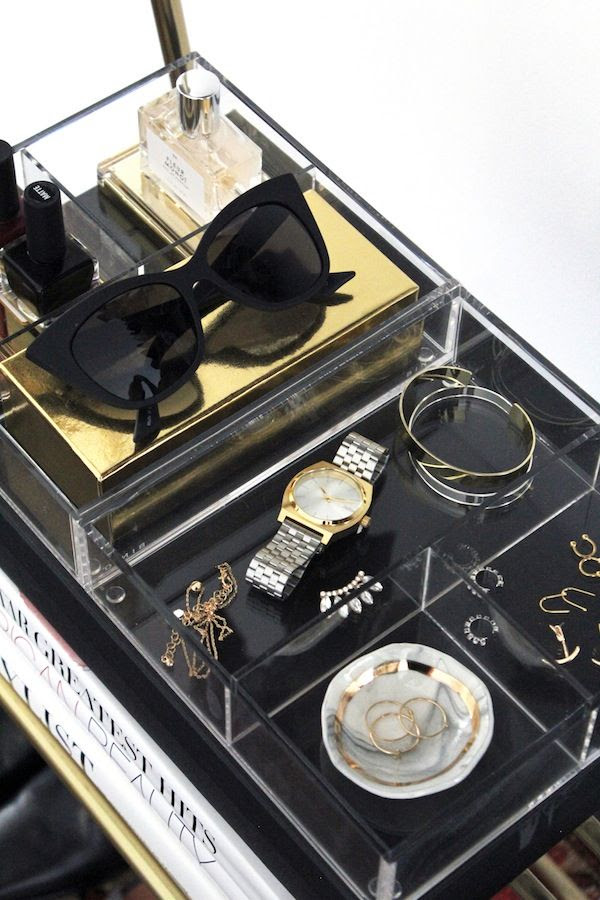 Le Fashion Blog Statement Open Closet Cat Eye Sunglasses Plastic Trays Delicate Jewelry Two Tone Watch Ring Dish Earrings Storage Home Decor Interior Design Jenn Camp