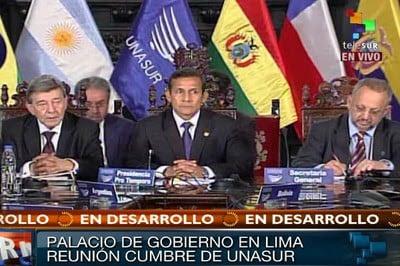 El presidente del Perú, Ollanta Humala, presidió la Cumbre de emergencia de Unasur