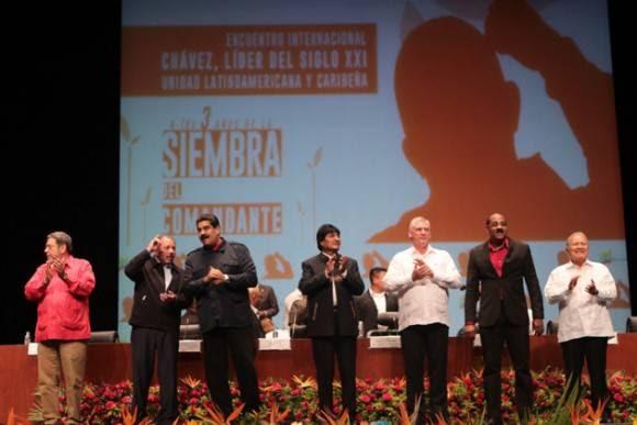 Autoridades internacionales participan en el foro internacional Chávez: Líder del siglo XXI, unidad latinoamericana y caribeña, para conmemorar los tres años del fallecimiento de Hugo Rafael Chávez Frías.