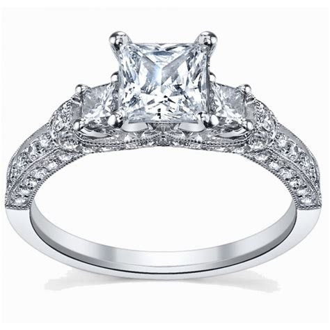 Glamorous Antique Engagement Ring 1.00 Carat Princess Cut