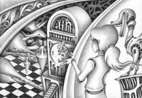 モノクロームイラスト(鉛筆画) - 「異形の国へようこそ」