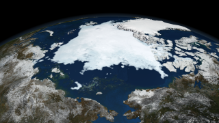 Image of Arctic sea ice on September 13, 2008