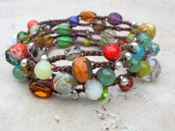Crochet Bohemian bracelet, beaded wrap necklace, colorful boho crochet jewelry, Gypsy hippie