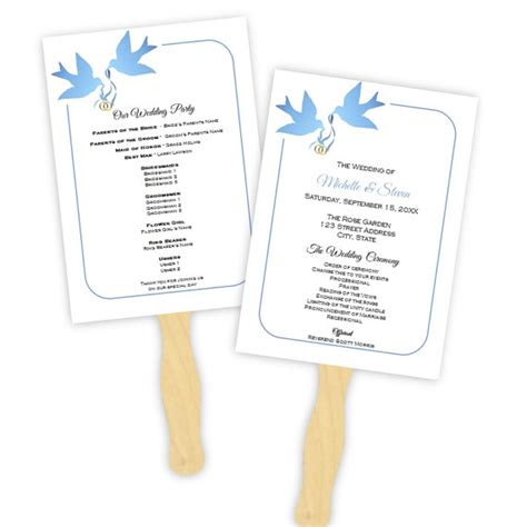 wedding program fan template blue doves silhouette diy