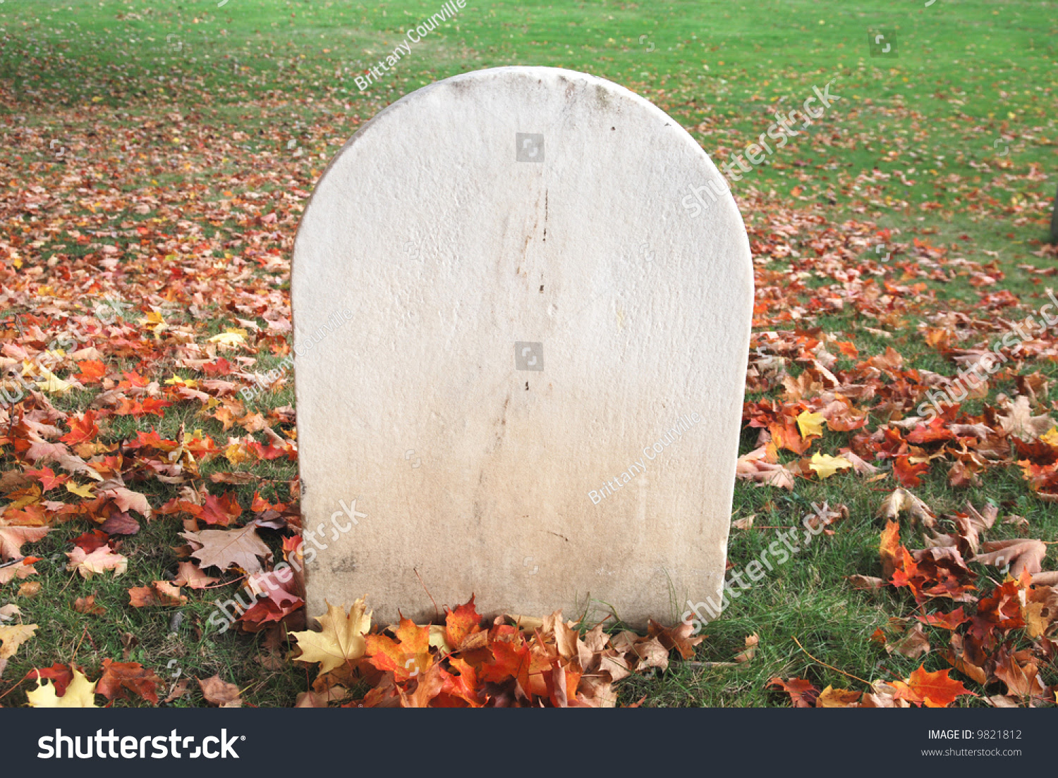 Blank Tombstone Amidst Fall Leaves Rest Stock Photo 9821812 ...
