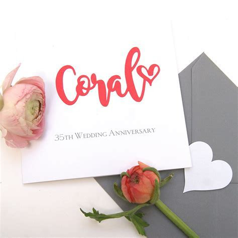 Coral 35th Wedding Anniversary Card   Shop Online