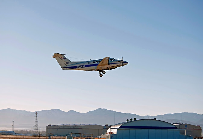 A King Air B200 aircraft from NASA's Langley Research Center in Hampton, Virginia, seen here in an undated file image, will gather pollution data from up to 27,000 feet.