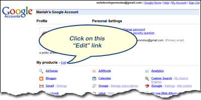 Click on the Edit Google Products links to close and delete a service including Gmail