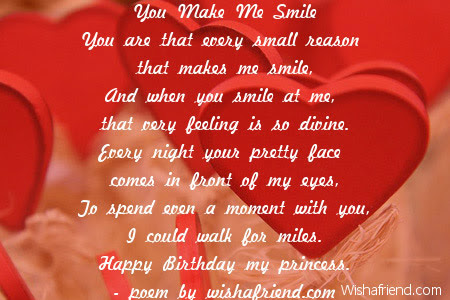 You Make Me Smile Girlfriend Birthday Poem