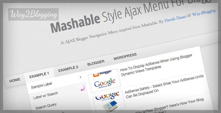AJAX Navigation Menu For Blogger Banner