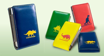Photo of iPod covers with dinosaurs on them.