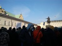 Protests against ACTA outside the presidential palace in Warsaw. / Credit:Claudia Ciobanu/IPS.
