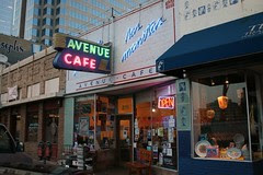 las manitas with neon signs on