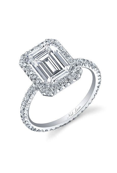 Neil Lane. Emerald cut halo engagement ring, price upon