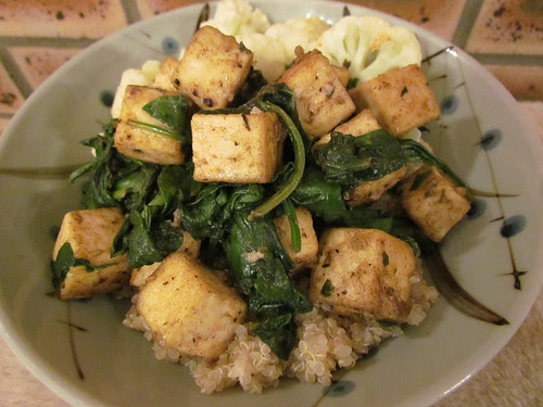 Tofu 'Scampi' with Spinach
