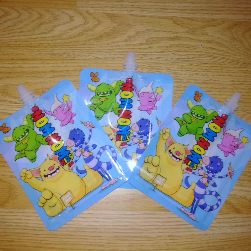 Nom Nom Kids Reusable Food Pouches in monster design