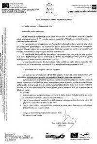 Nota informativa del Director a padres y madres contra el cierre. Fuente: APA Avellaneda