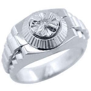 Jewelry Masters : .05 Carat Mens White Gold Round