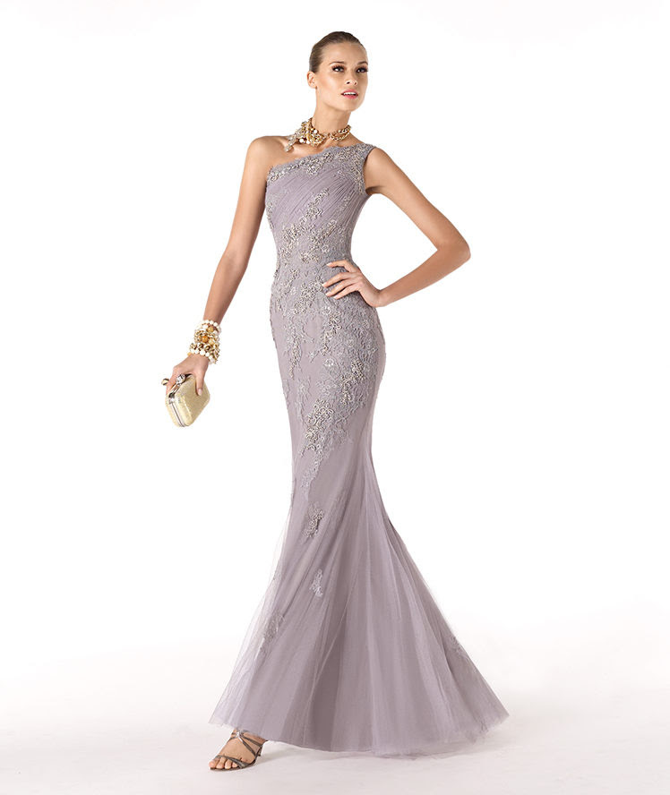 Charming Mermaid One Shoulder Lace Floor-length Tulle Cocktail Dresses_1