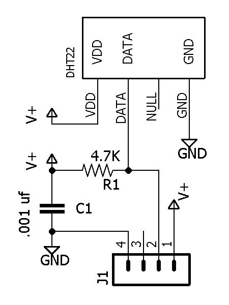 Figure 2. Schematic for a single DHT22 sensor. One board is required for each of the 3 sensors.