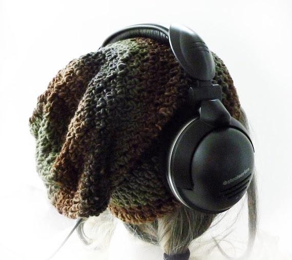 Mens Slouchy Gaming Beanie  - Jungler - Brown Green stripes - Under Headset Crochet baggy Hat