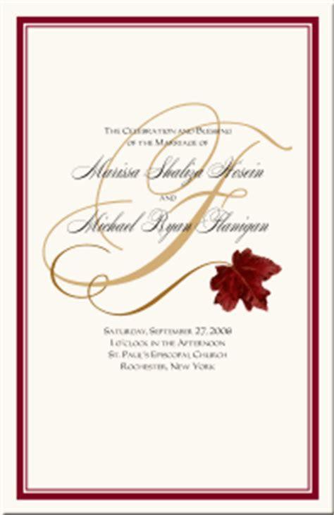 Fall Wedding Programs Autumn Theme Wedding Programs Fall