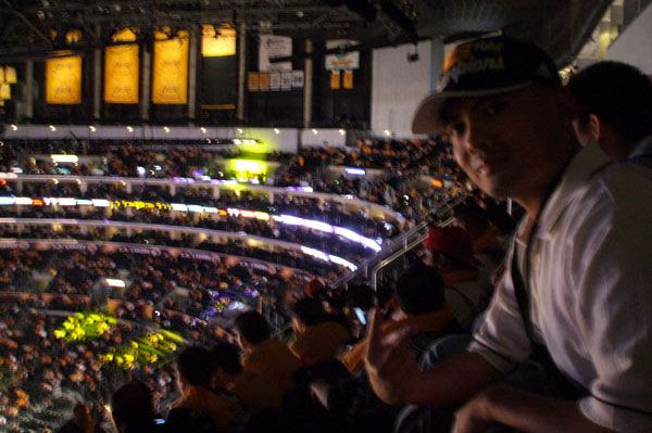 Waiting for the Lakers game to begin against the Houston Rockets, on October 26, 2010.