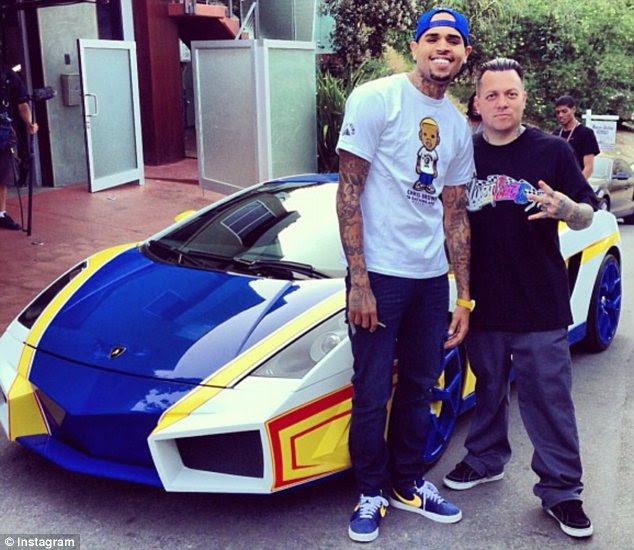 Flashy enough?: Chris Brown had West Coast Customs' Ryan transform his Lamborghini into a Hot Wheels car