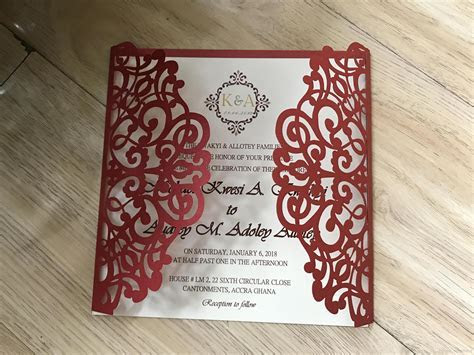 2019 Vintage Lace Wedding Invites, Red Handmade Laser Cut