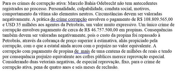 Trecho da sentença de condenação de Marcelo Odebrecht no âmbito da Operação Lava Jato (Foto: Reprodução)