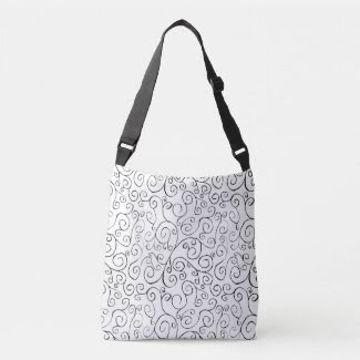 Black Scrolling Curves on White All-Over-Print Bag Tote Bag