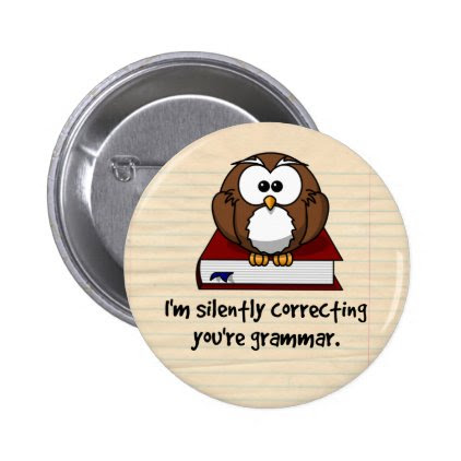 I'm Silently Correcting Your Grammar Wise Owl Pinback Button