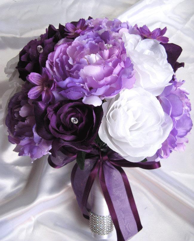 Wedding Bouquet Bridal Silk Flowers Decoration PLUM PURPLE LAVENDER Lilac White 17 Piece Package
