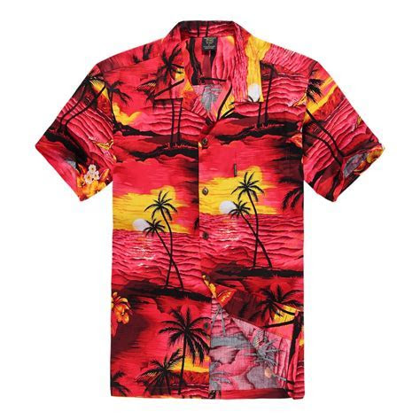 Men Hawaiian Aloha Shirt in Red Sunset